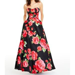 Black Gown with Red Floral-Print, Sz 5/6